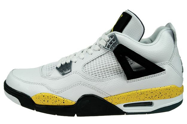 AIR JORDAN 4 RETRO LS white/tour yellow-dark blue grey-black