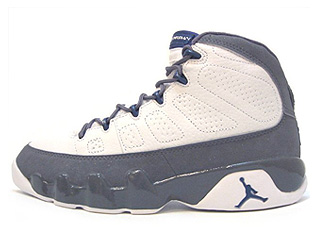 AIR JORDAN 9 RETRO + white/french blue-flint grey