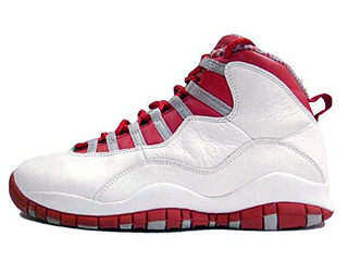 AIR JORDAN 10 RETRO white/varsity red-light steel grey
