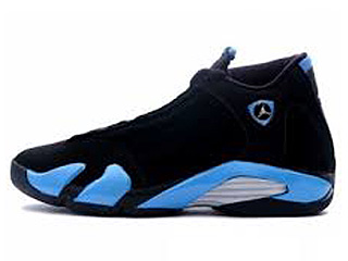 AIR JORDAN 14 RETRO black/university blue-metallic silver silver