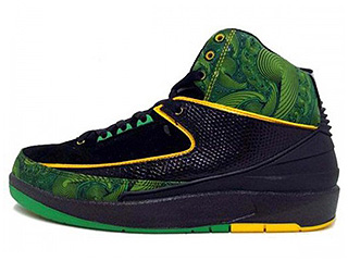AIR JORDAN 2 RETRO DB doernbecher charity black/lucky green-pro gold