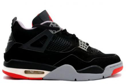 NIKE AIR JORDAN 4 RETRO BLACK/CEMENT GREY-FIRE RED