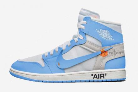 OFF-WHITE × NIKE AIR JORDAN 1 RETRO HIGH OG WHITE/CONE/DARK POWDER BLUE