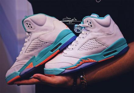 NIKE AIR JORDAN 5 RETRO GG WHITE/CRIMSON PULSE-LIGHT AQUA-BLACK