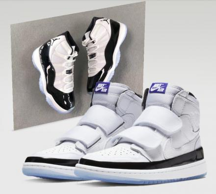 "NIKE AIR JORDAN 1 RETRO HIGH DOUBLE STRAP ""CONCORD"" WHITE/BLACK-DARK CONCORD(AQ7924-107)"