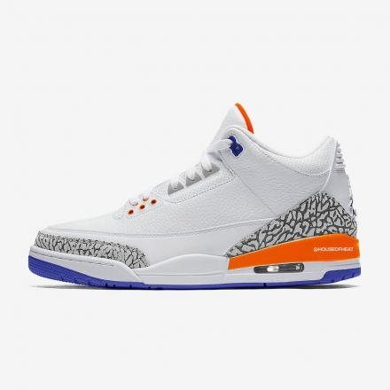 "NIKE AIR JORDAN 3 RETRO ""KNICKS RIVALS"" WHITE/OLD ROYAL-UNIVERSITY ORANGE-TECH GREY"