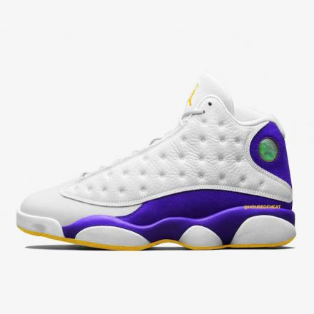 "NIKE AIR JORDAN 13 ""LAKERS"" WHITE/BLACK-COURT PURPLE-UNIVERSITY GOLD"